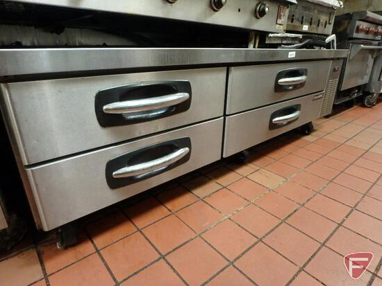 Norlake AdvantEdge model CB84 4-drawer refrigerated chef base on casters