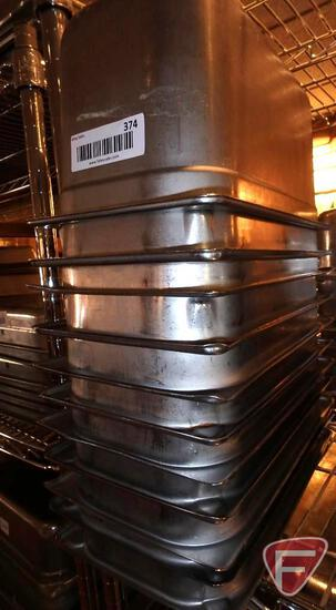 "(11) 1/3 size stainless steel 6"" deep food pans"
