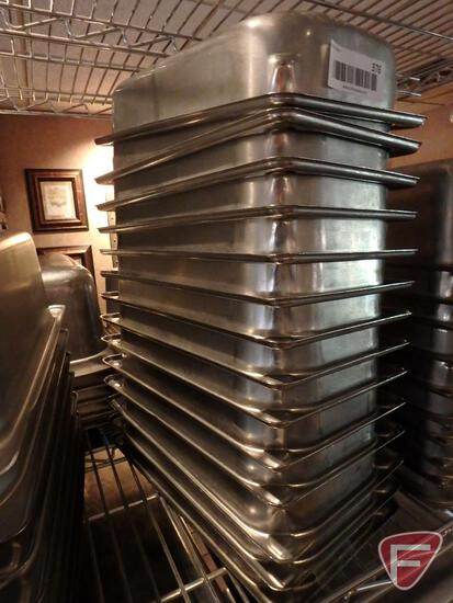 "(15) 1/3 size stainless steel 2.5"" deep food pans"