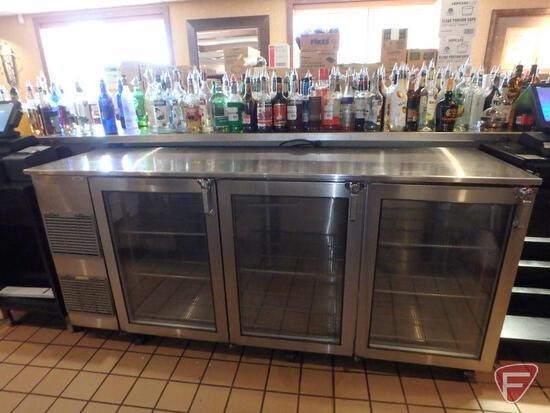 "Glastender 84"" stainless steel 3-glass-door back bar cooler on casters, model BB84-L1-XSH(LLL)"