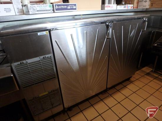 "Glastender 60"" stainless steel 2-door back bar cooler on casters, model BB60-L1-SSH(LL)"