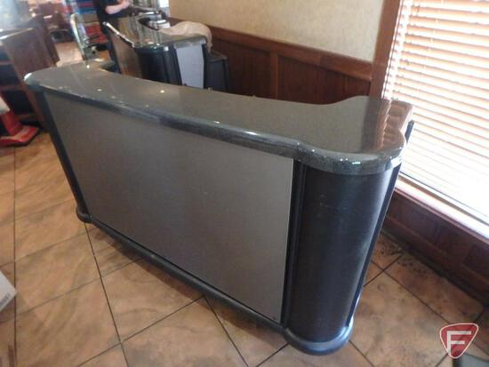 Cambro Bar730 poly portable catering bar on casters, ice bin, liquor tray, adjustable shelves