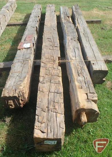 (4) Hand hewed oak beams, largest is 10x10, 16' long