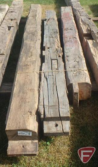 (3) Hand hewed oak beams, largest is 10x10, 11' long
