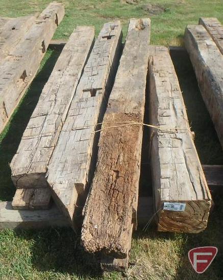 (4) Hand hewed oak beams, largest is 10x10, 9' long