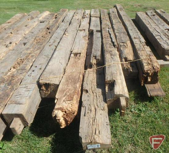 (7) Hand hewed oak beams, 10x10, largest is 15' long