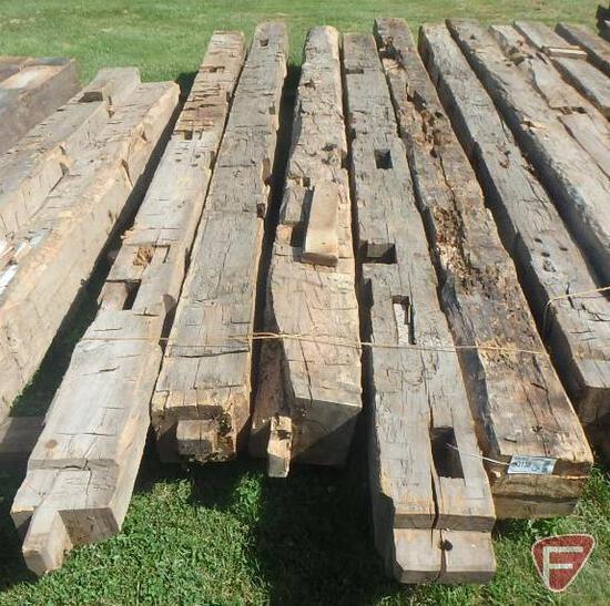 (7) Hand hewed oak beams, 10x10, longest is 15'
