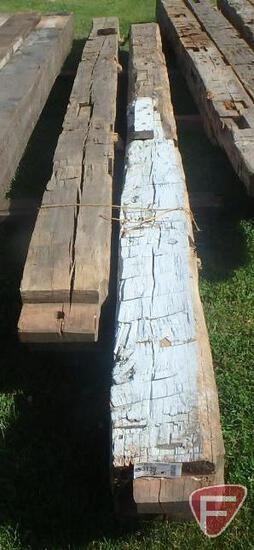 (2) Hand hewed oak beams, 10x10, longest is 14'