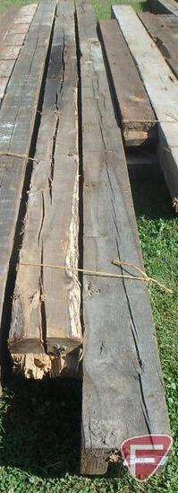 (1) Fir beam, 6x8, 15' long; (1) Elm beam, 8x8, 14' long