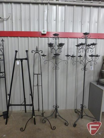 """(2) matching candelabra stands 72""""H and (2) metal easels"""