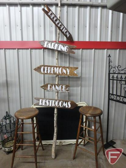 """Framed chalkboard, sign post 113""""H and (2) wood stools"""