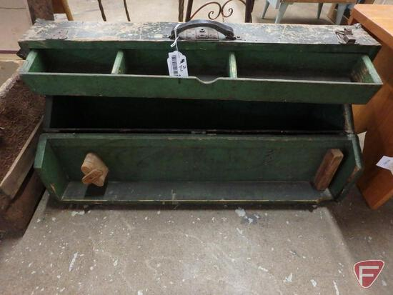 Vintage wood tool box and steamer trunk