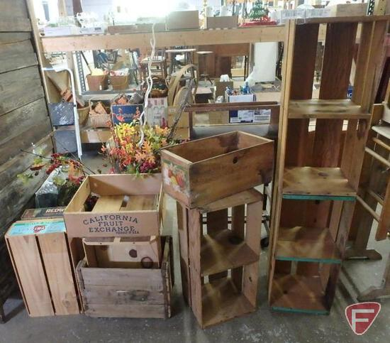 (9) wood fruit crates, some with advertising and different sizes