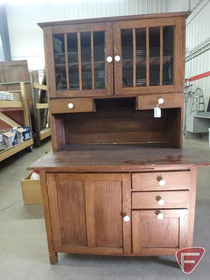 """Vintage 2 pc. kitchen hoosier cabinet, 41""""W x 26""""D x 65.5""""H"""
