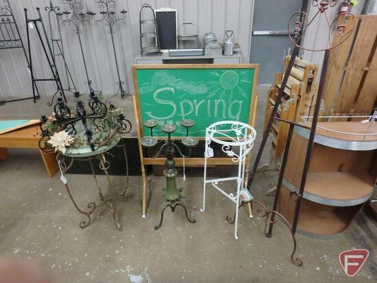 Standing framed chalkboard, (2) plant stands, (2) candle holders, metal easel