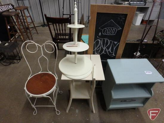 Framed chalkboard, (2) end tables, tiered stand(needs work) and metal ice cream chair