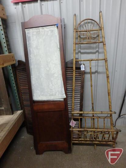 Wood folding divider, wicker easel, and swinging doors