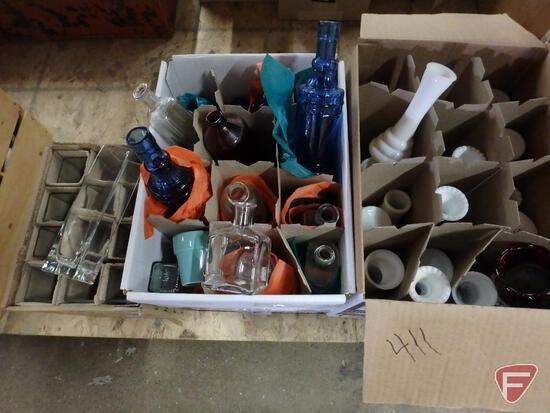 Clear and colored glass vases. 6 boxes