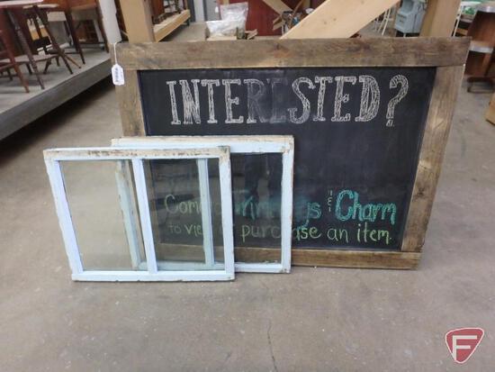 "Framed chalkboard 48"" x 36"" and (2) windows"