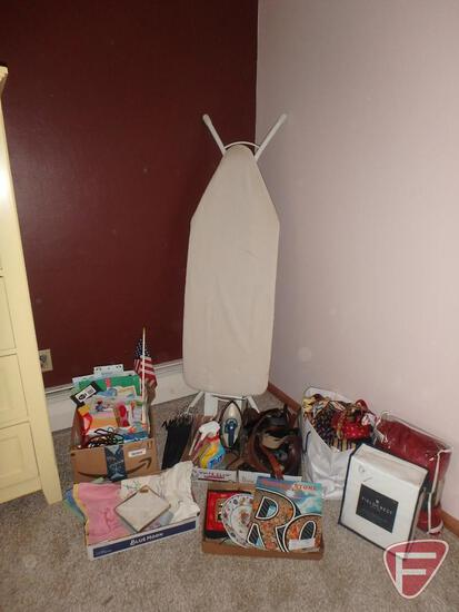 Ironing board, sheets, ties, hangers, belts, gift bags, more