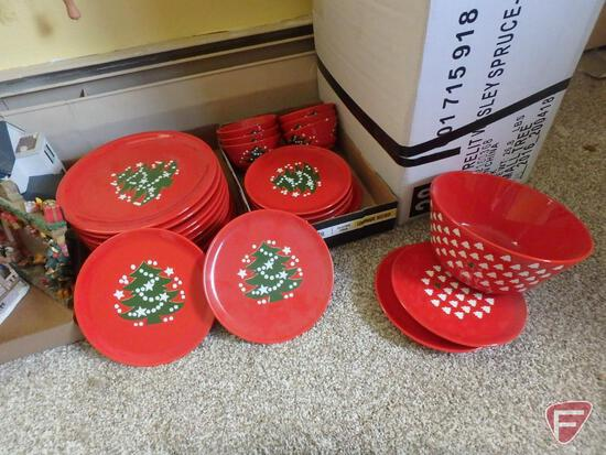 Christmas decorations; snow globes, lights, angels, books, candles, Waechtersbach plates, bowls,