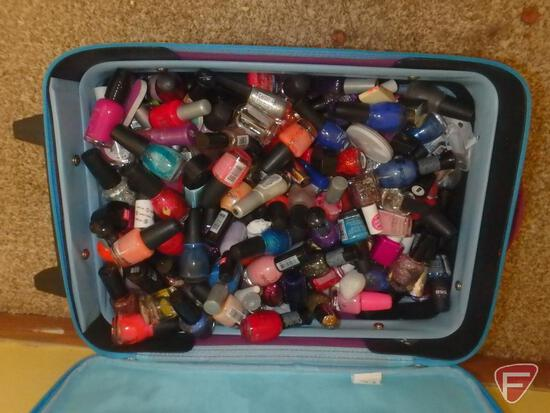 """Suitcase, 17"""" x 13"""" with nail polishes, nail accessories"""