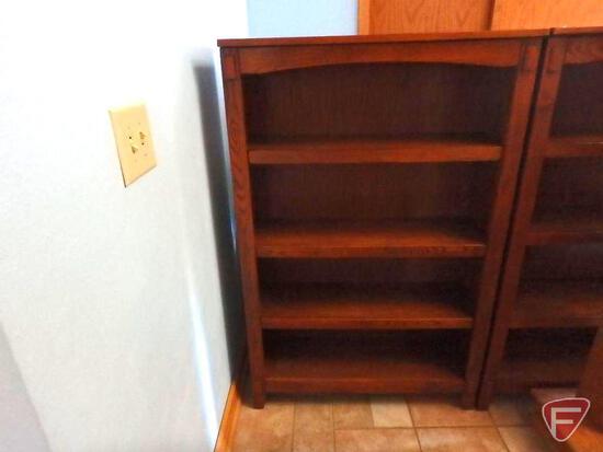 """Mission oak like bookshelf, 34""""w x 12"""" x 53""""h"""