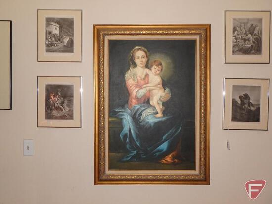 Religious prints, paintings, all items and pictures on the walls
