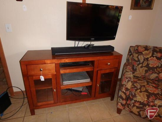 """Wood cabinet, Insignia TV, 32"""" DVD player, Sonos 35"""" sound bar, cabinet is 52""""w x 17""""d x 33""""hW"""
