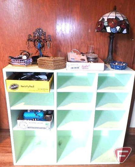 Painted wood stand with compartments, Tiffany styled lamp, stained glass shade, jewelry, cameras,
