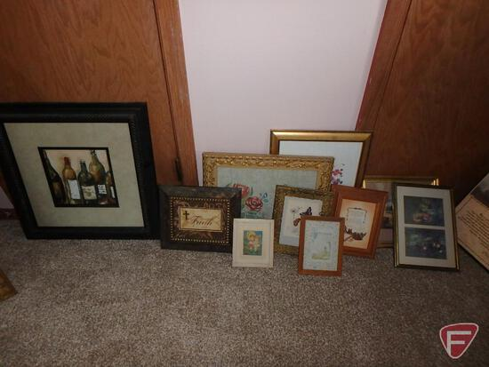 Assortment of pictures, matted and framed, various sizes, Bonnie Mohr and others.