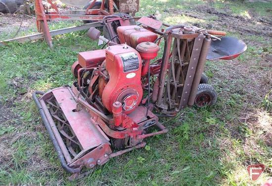 "78"" Toro Professional walk behind reel mower with riding sulky and Wisconsin engine"