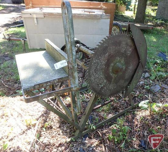 Pulley driven buzz/wood saw with loading platform