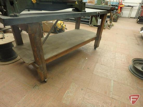 Metal topped table on casters