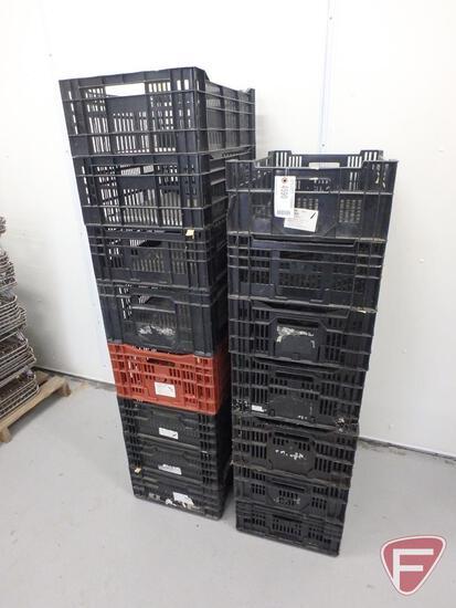 """Stackable plastic crates (15), 23.5""""x15.5"""""""