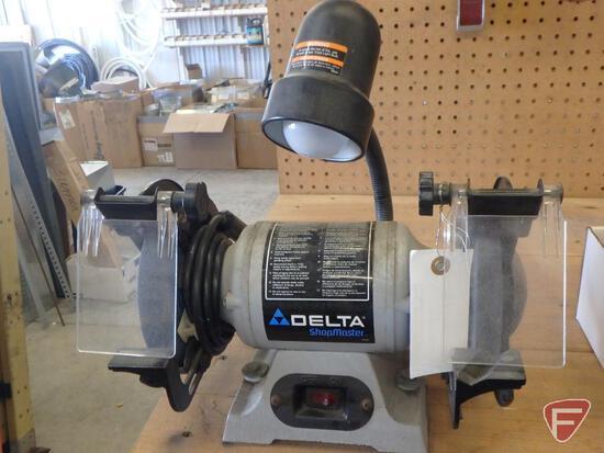 """6"""" Delta Shopmaster bench grinder with worklight, sn 169780W4081"""