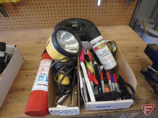 Fire extinguisher, (2) 260x85 pneumatic wheels, spray paint, (2) trailer locks with keys
