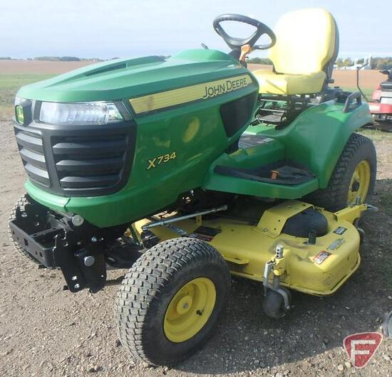 "John Deere X734 60"" riding mower, 714 hrs."