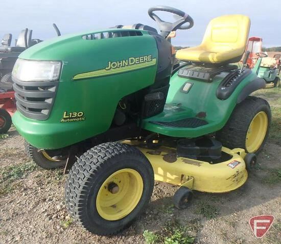"John Deere L130 Automatic 48"" riding mower, 365 hrs."