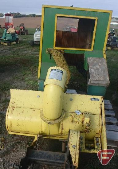 John Deere E210 snow blower attachment, sn 113041M; and cab