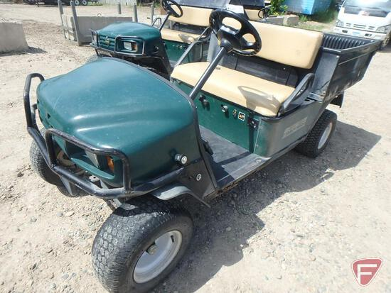 2000 EZ-GO Workhorse ST350 gas utility vehicle with electric dump, green, brush guard, lights