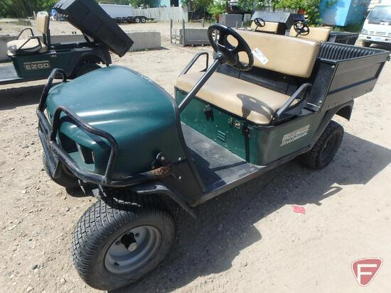 2003 EZ-GO Workhorse ST350 gas utility vehicle with electric dump, green, brush guard, lights