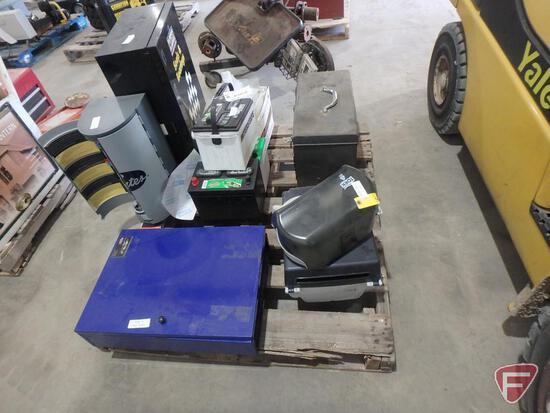 Metal 3 drawer tool box, hardware organizers, bearing cabinet, battery displays (non functional)
