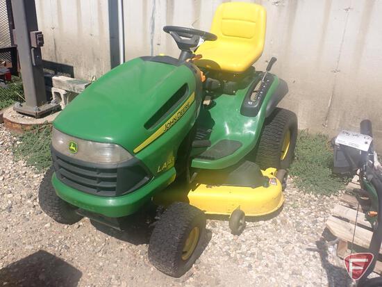 "John Deere riding lawn mower, model LA145, 48"" cut, Briggs & Stratton 22 HP gas engine"