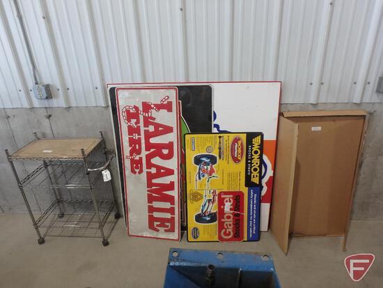 Signs (6); Laramie Tire, Monroe, Interstate Batteries; metal cart