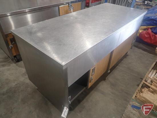 "Lockable stainless steel work table on wheels, 72""x36""x34"""