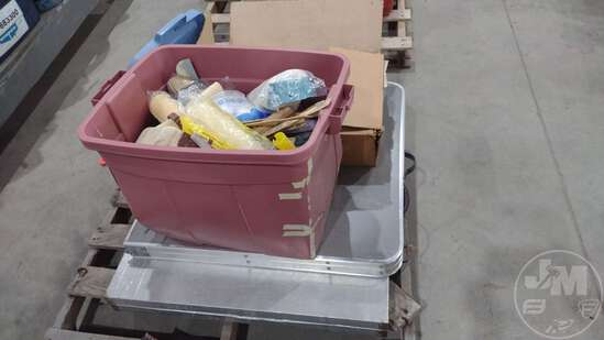 PLASTIC BAGS, PAINTING SUPPLIES, (2) FOLDING TABLES