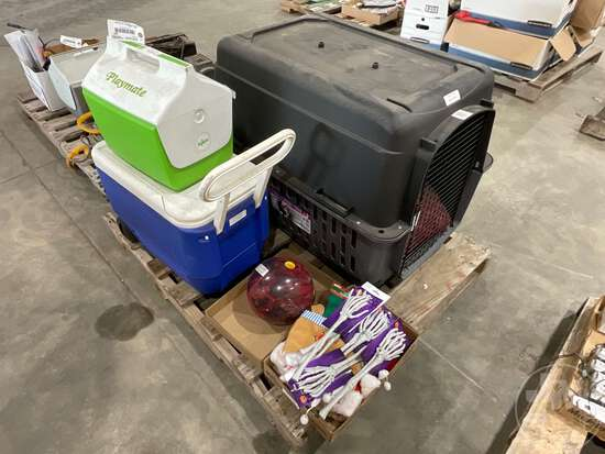 ANIMAL KENNEL, HALLOWEEN DECORATIONS, (2) COOLERS, BOWLING BALL