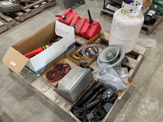 GAS CANS, LP TANK, JUMPER CABLES, LEVEL, RECHARGEABLE FLASH LIGHTS,