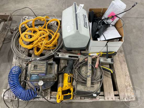 AIR COMPRESSOR, TOLL CABLES, BATTERY CHARGER, COOLER, SAWZALL, LEVEL, WALL